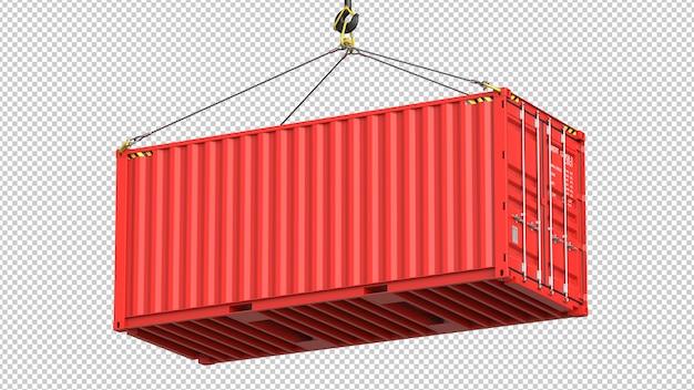 Czerwony kontener wiszący na haku dźwigu