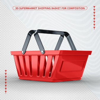 Czerwony kosz na zakupy w supermarkecie