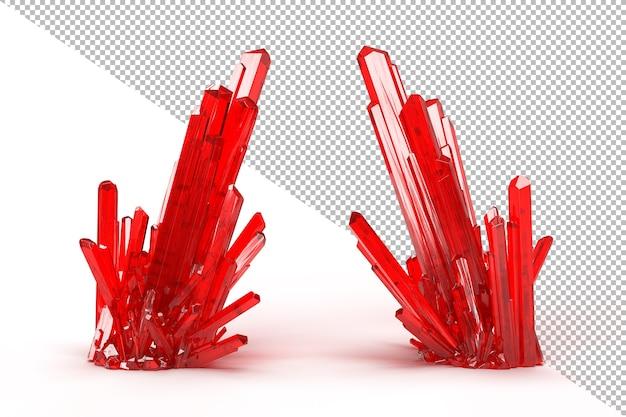 Czerwony kryształ klastra na białym tle