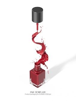 Czerwony lakier do paznokci na białym tle 3d render