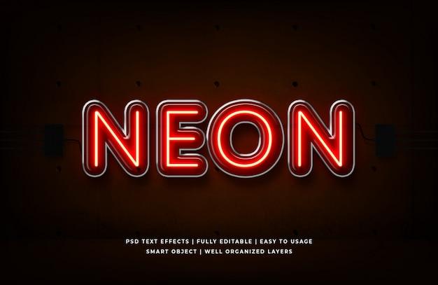 Czerwony neon 3d efekt stylu tekstu premium psd