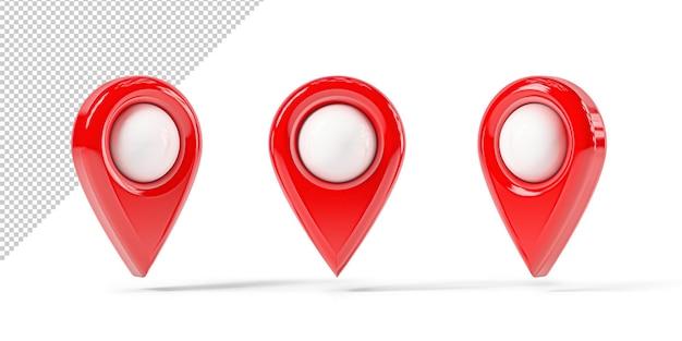 Czerwony projekt mapy w różnych pozycjach