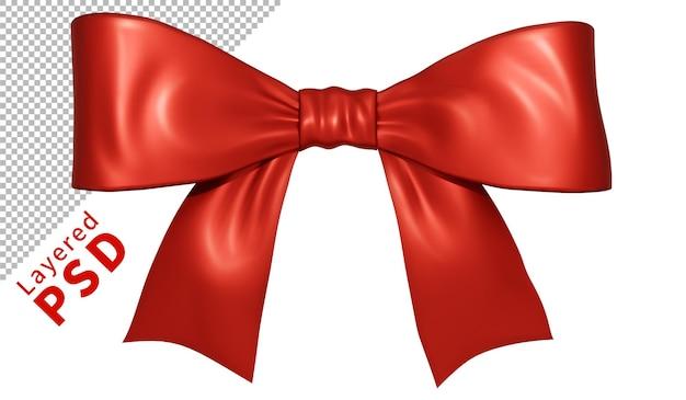 Czerwony satynowy prezent wstążka łuk na białym tle