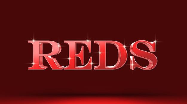 Czerwony szablon efektu tekstowego 3d