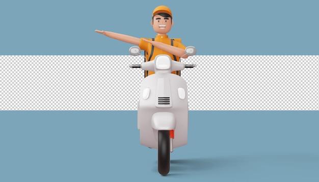 Człowiek dostawy robi dabbing z motocyklem w renderowaniu 3d
