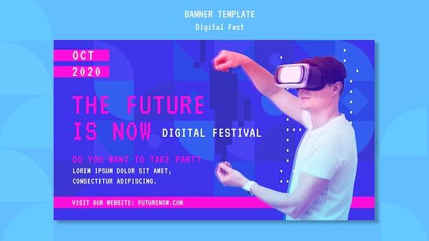 Człowiek za pomocą banera zestawu słuchawkowego wirtualnej rzeczywistości