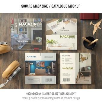 Cztery kwadratowe czasopisma lub makiety katalogowe z martwą naturą