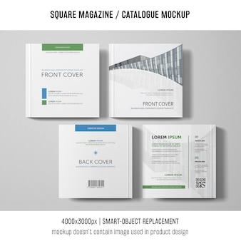 Cztery kwadratowe makiety magazynów lub katalogów