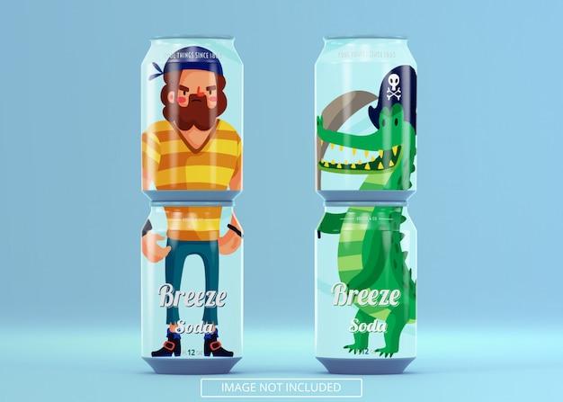 Cztery stojące piwo może soda makiety
