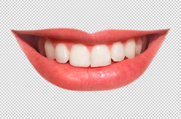 Czyste uśmiechnięte usta kobiety samodzielnie na białym tle