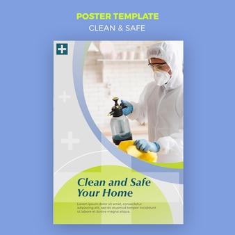 Czysty i bezpieczny projekt plakatu