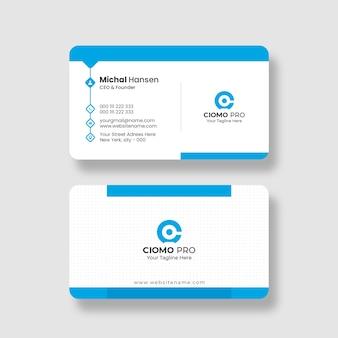 Czysty i niebieski szablon wizytówki