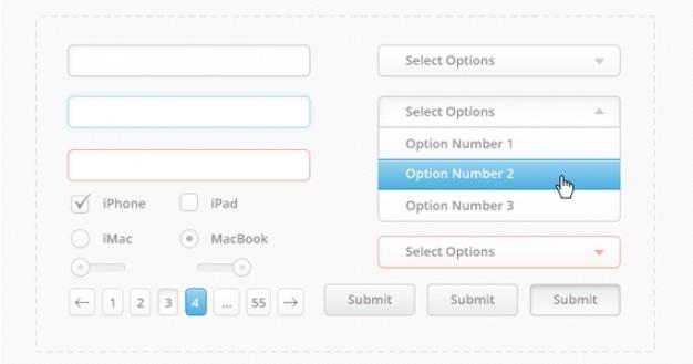 Czysty interfejs użytkownika kit psd