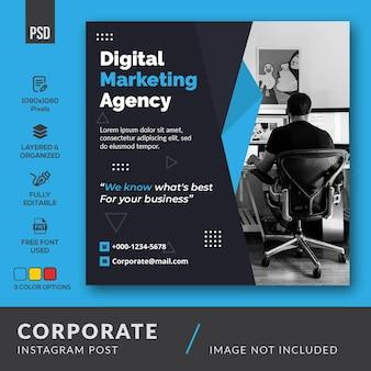 Czysty minimalistyczny korporacyjny baner post na instagramie