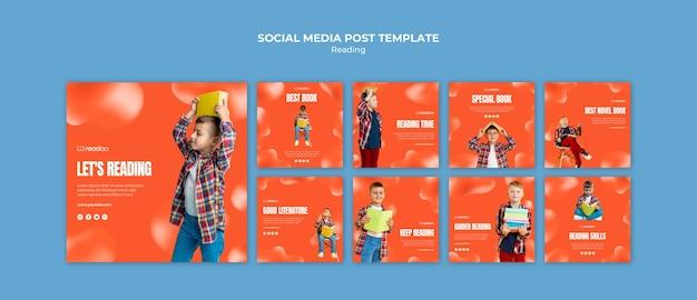 Czytanie koncepcja szablon mediów społecznościowych post