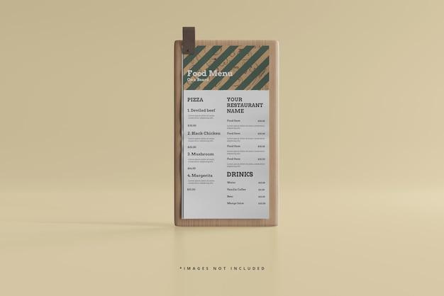 D menu żywności na makiecie drewnianej deski