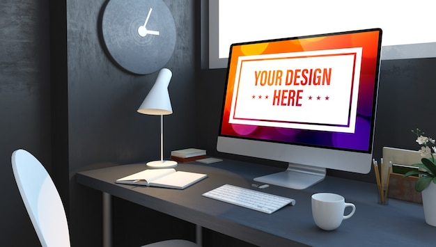 Dane biznesowe na pulpicie komputera w granatowej makiecie renderowania 3d