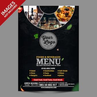 Dark vintage restaurant food napoje menu premium szablon psd