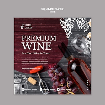Degustacja wina, kwadratowy szablon projektu ulotki