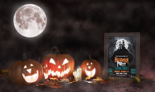Dekoracja halloween z oprawionym plakatem z horrorem