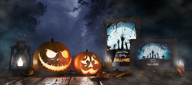 Dekoracja na halloween z oprawionym plakatem z horrorem