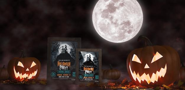 Dekoracja na halloween z oprawionymi plakatami z horroru