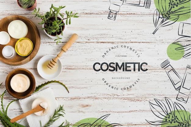 Dekoracja salonu kosmetycznego z szablonem logo