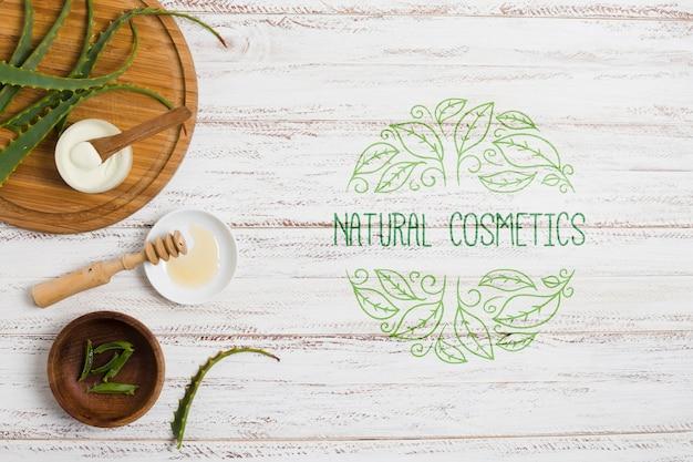 Dekoracja salonu kosmetyków naturalnych z szablonem logo