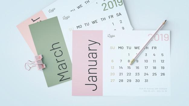 Dekoracyjna płaska kalendarzowa makieta