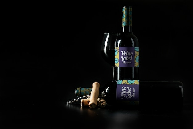 Dekoracyjne makieta wina z copyspace