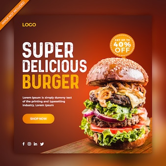 Delicious burger promotion instagram post banner społecznościowy sqaure