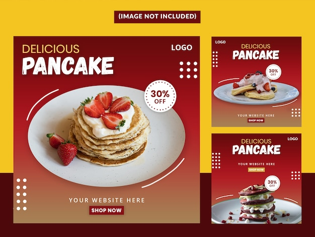 Delicious pancake social media post ustaw szablon premium