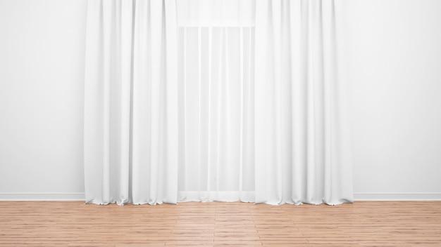 Delikatne białe zasłony, biała ściana i drewniana podłoga. pusty pokój jako tło