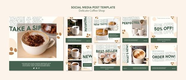 Delikatny post w mediach społecznościowych w kawiarni