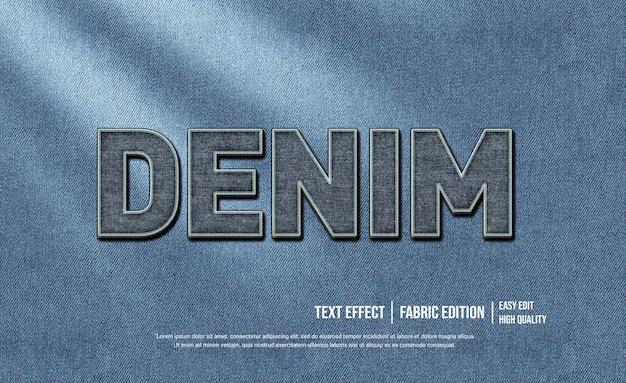 Denim 3d szablon efektu stylu tekstu