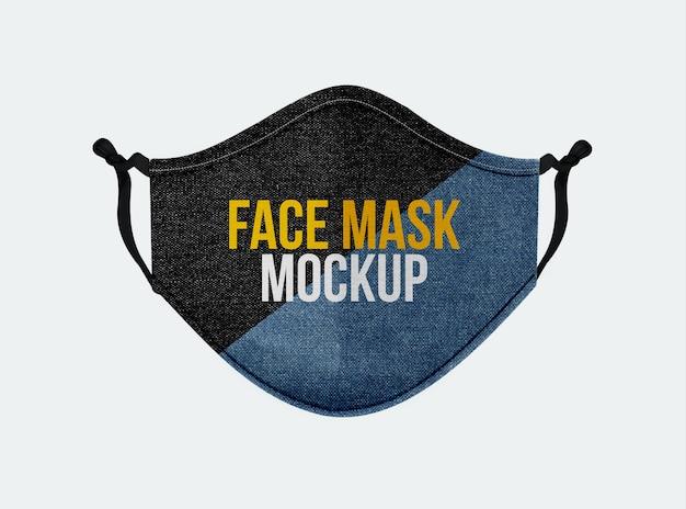 Denimowa maska-na-twarz-makieta-z-przodu-widok