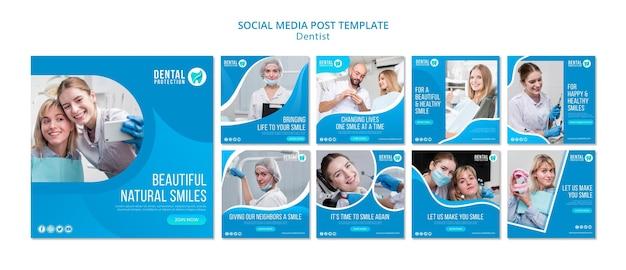 Dentysta mediów społecznościowych szablon postu