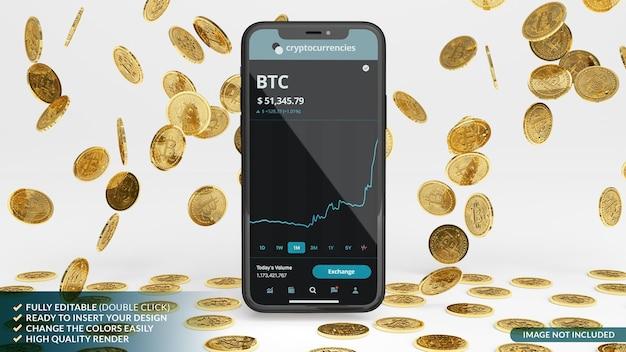 Deszcz bitcoinów z makietą telefonu komórkowego w renderowaniu 3d