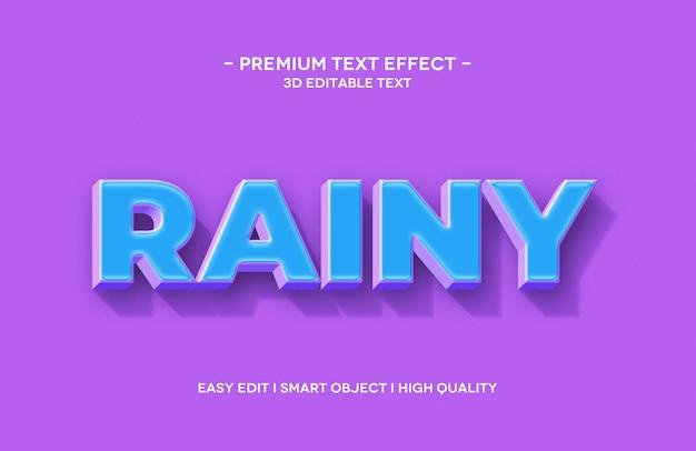 Deszczowy szablon efektu tekstowego 3d