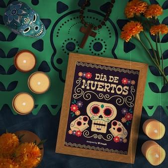 Dia de muertos fioletowe czaszki z widokiem z góry sombrero
