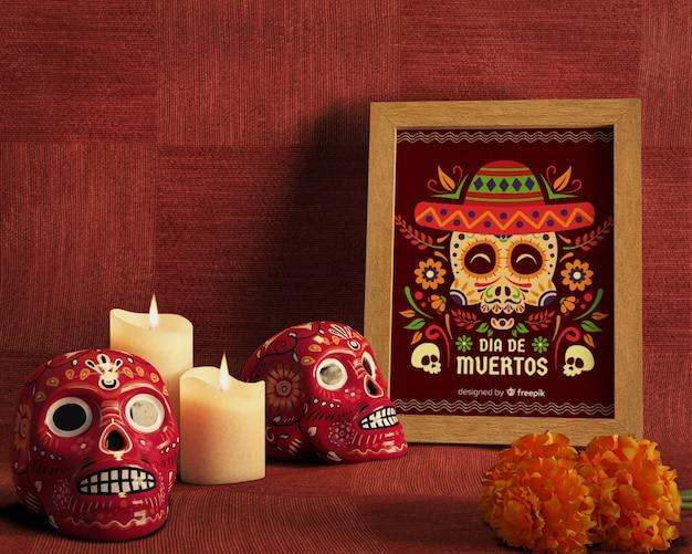 Dia de muertos tradycyjny meksykański kwiatowy czaszki widok z przodu