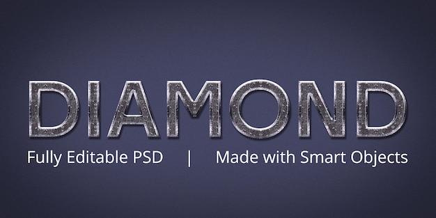 Diamentowy edytowalny efekt stylu tekstu w programie photoshop