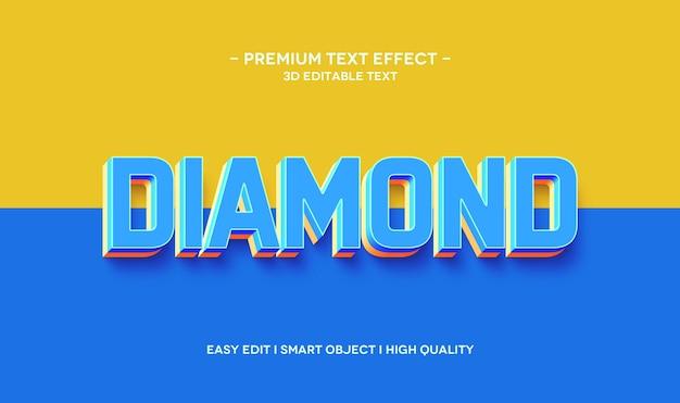Diamentowy szablon efektu stylu tekstu 3d