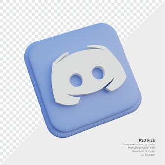 Discord izometryczny styl 3d ikona koncepcja logo w okrągłym rogu kwadratu na białym tle