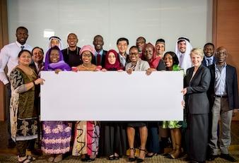 Diverse People Show Board Placard Kopiowanie miejsca