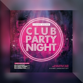 Dj club night party flyer