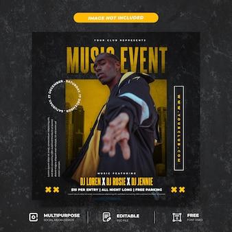 Dj music event social media post szablon