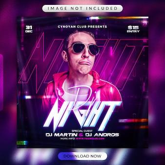 Dj night party flyer lub szablon promocyjny w mediach społecznościowych