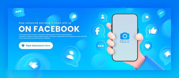 Dłoń trzymająca ikony facebook telefonu wokół makiety renderowania 3d dla szablonu okładki na facebooku promocyjnym
