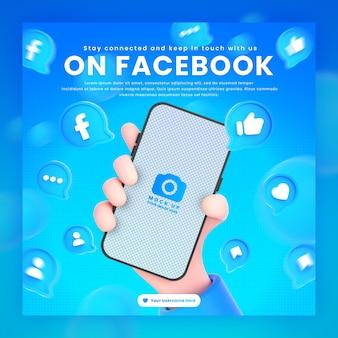 Dłoń trzymająca ikony facebooka telefonu wokół makiety renderowania 3d do promocji szablonu postu na facebooku